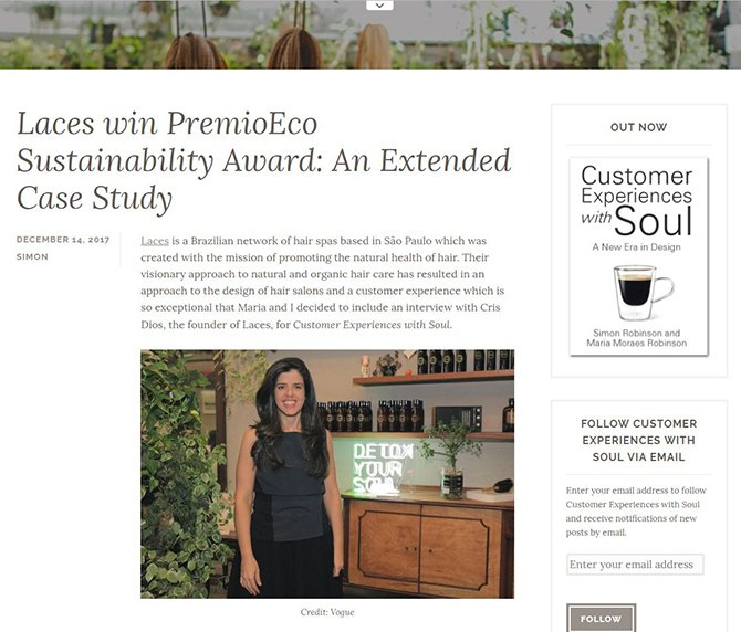 Laces win PremioEco Sustainability Award: An Extended Case Study - Customer Experiences With Soul