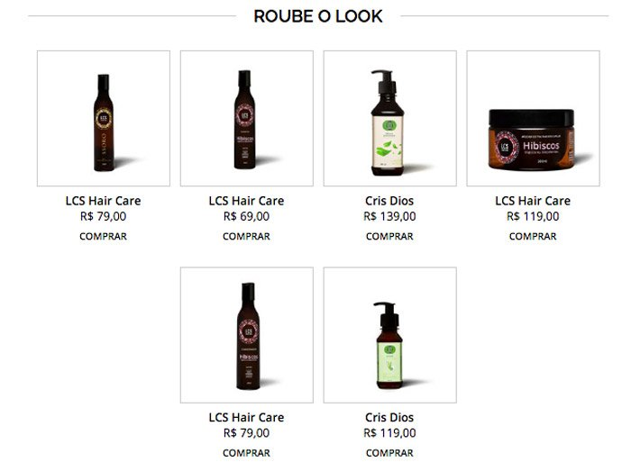 Site Steal the Look - Produtos LCS e Cris Dios