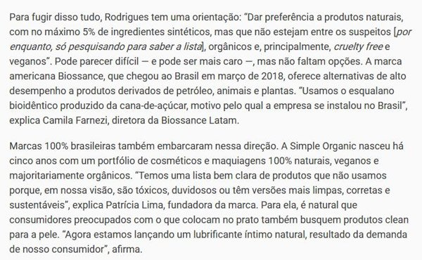 Laces and Hair Revista Exame Produtos Clean 100% natural